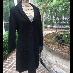Elie Tahari Black Weave Long Sweater Jacket